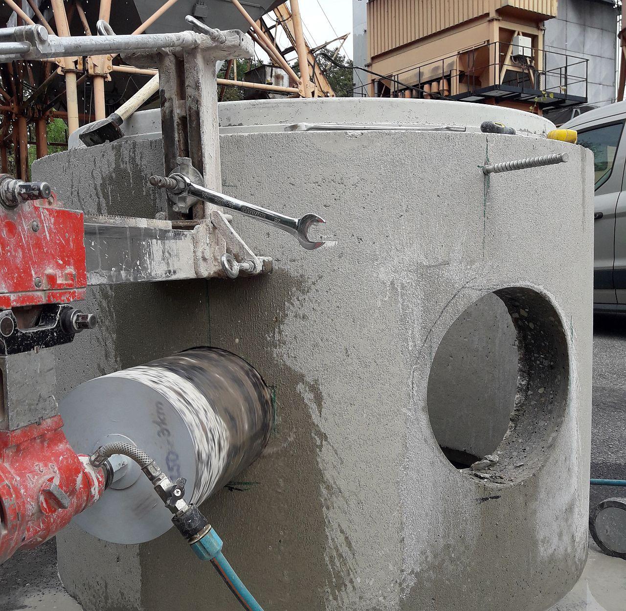 wiercenie w kręgach betonowych